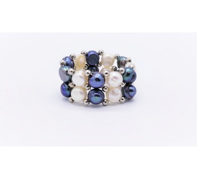 Black & White Double Pearl Ring - (PR-200709)
