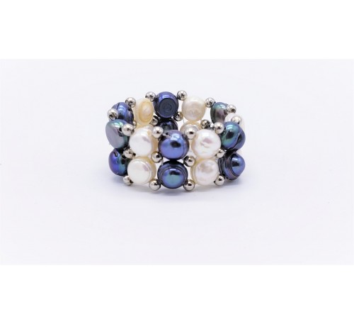 Black & White Double Pearl Ring - (PR-200709)