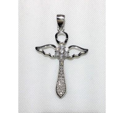 CZ Angel Wing Cross Sterling Silver (SN-905008)