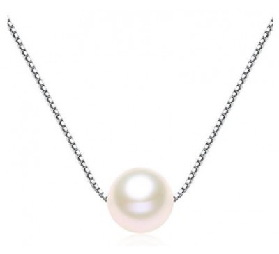 Single Pearl Sterling Silver Necklace -White (SN-905122)