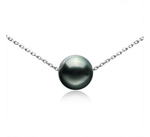 Single Pearl Sterling Silver Necklace -Black (SN-906008)