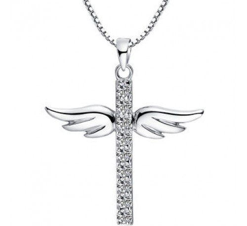 Angel Wing Cross Sterling Silver Necklace (SP-903318)